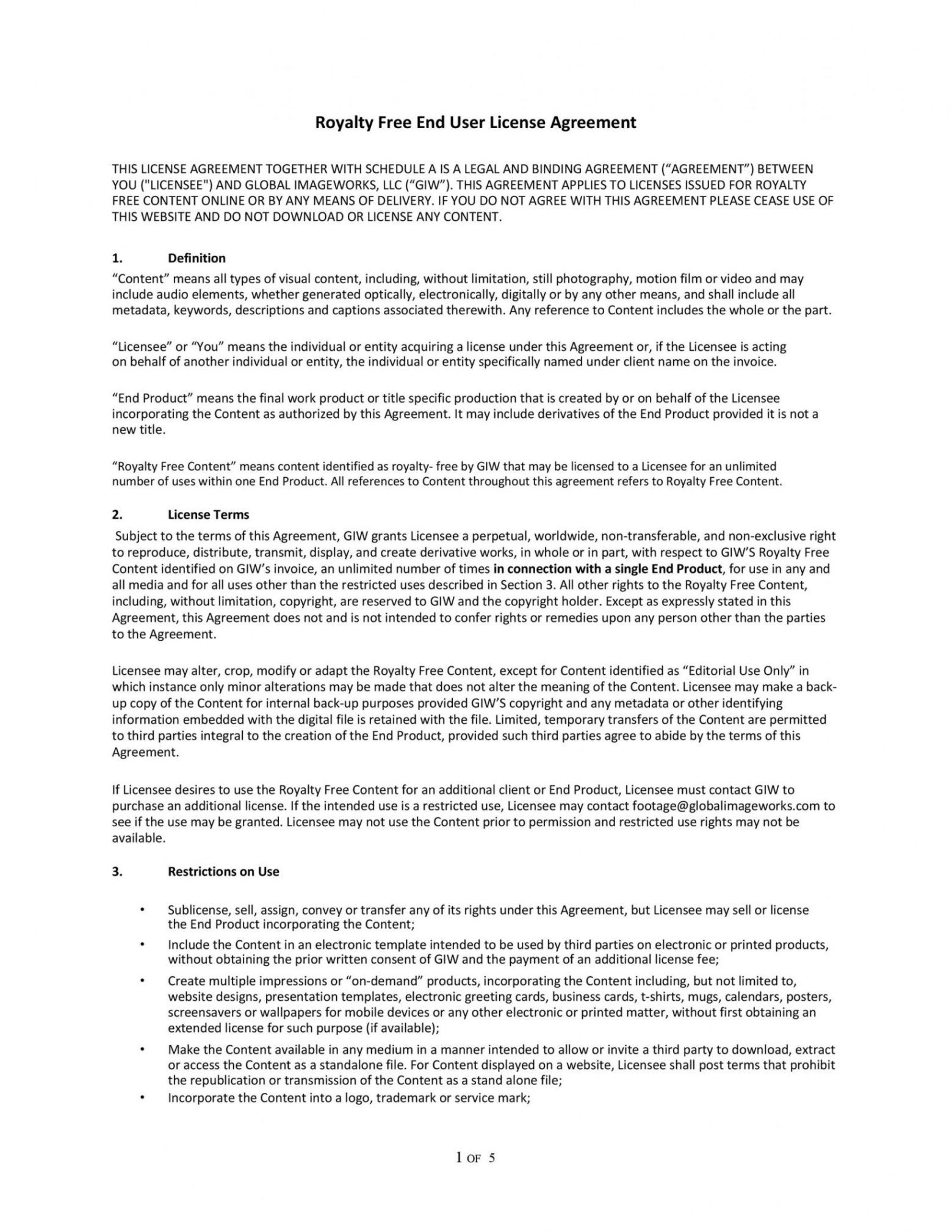 printable 50 professional license agreement templates  templatelab photography license agreement template word
