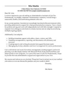 printable best administrative assistant cover letter examples  livecareer admin assistant cover letter template pdf