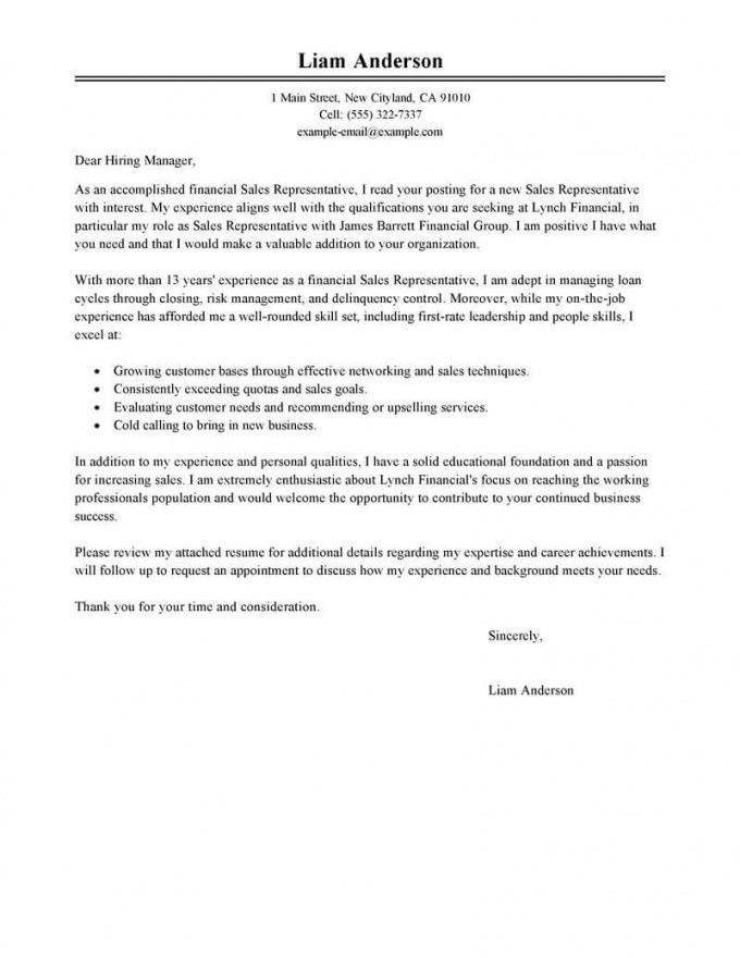 printable best sales representative cover letter examples  livecareer sales representative cover letter template
