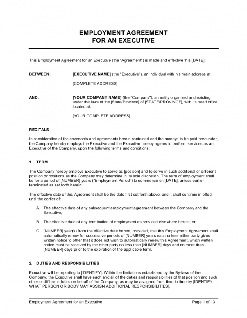 printable employment agreement executive with car allowance template car allowance agreement template excel