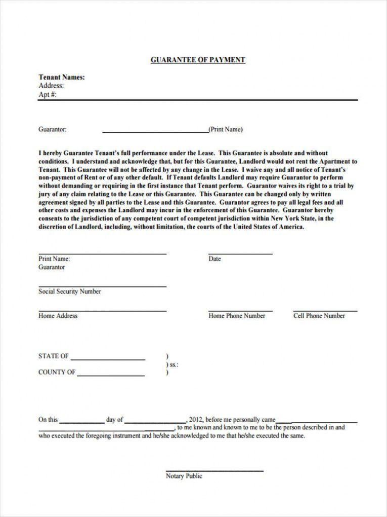 printable free 8 guarantor agreement forms in pdf guaranteed payment agreement template example