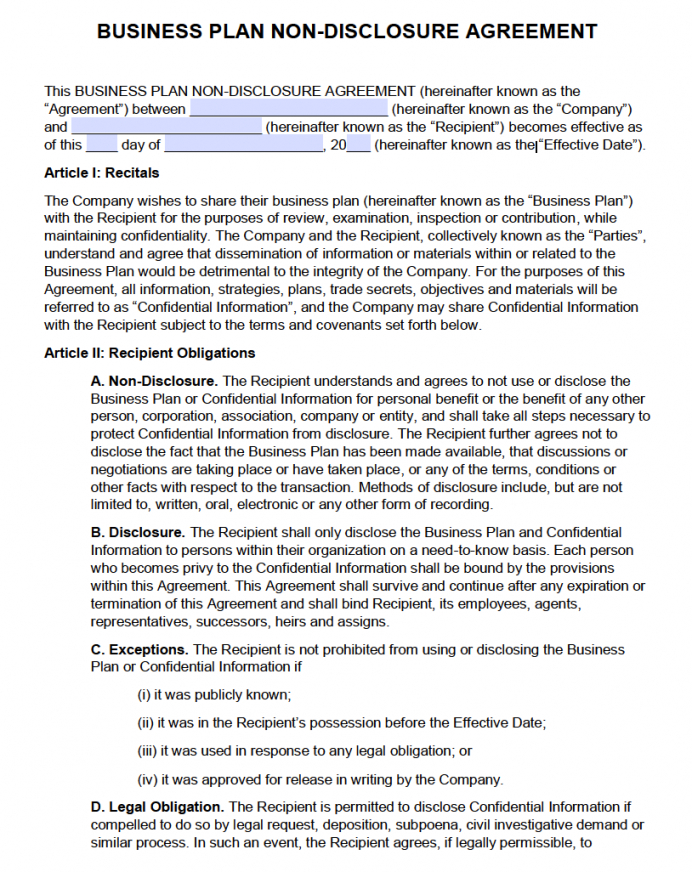printable free business plan nondisclosure agreement nda  pdf third party funding agreement template word