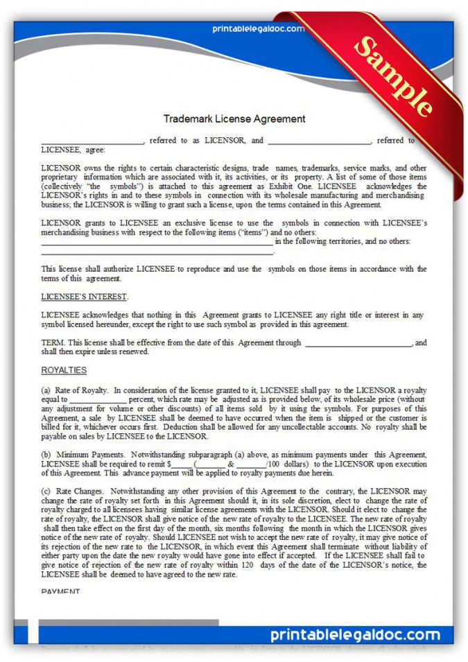 printable free printable trademark license agreement form generic royalty free license agreement template word
