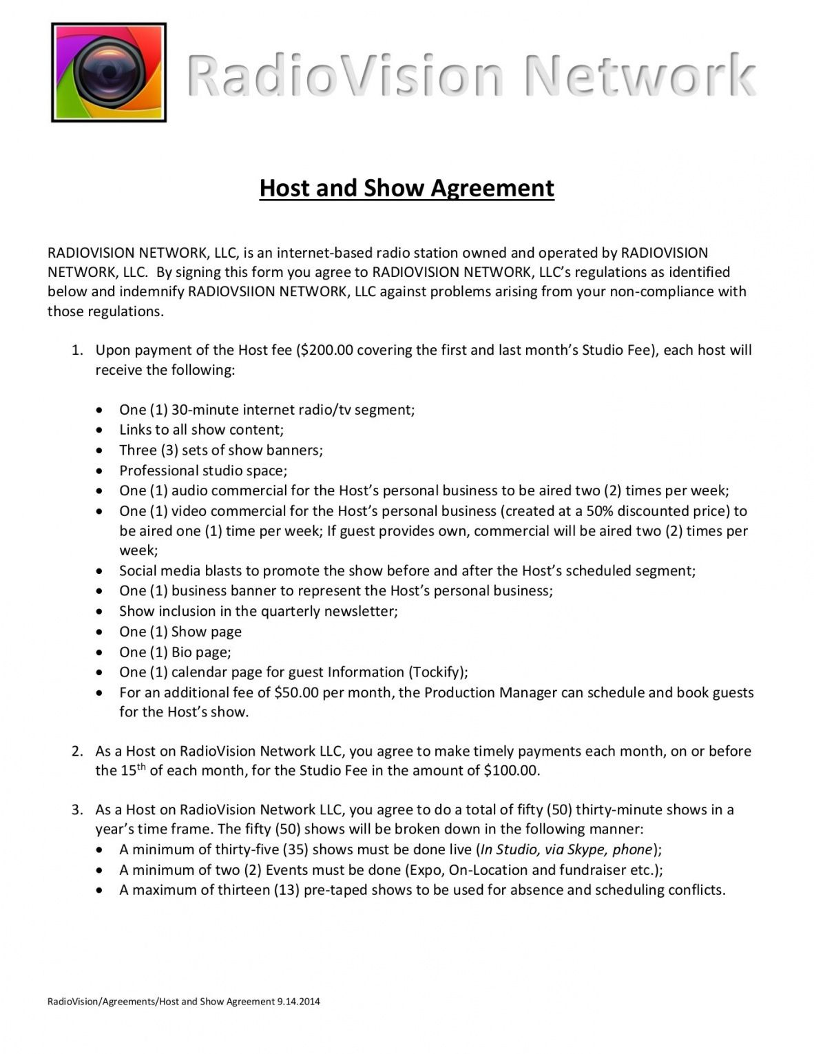 printable host and show agreement 9142014 host agreement template excel