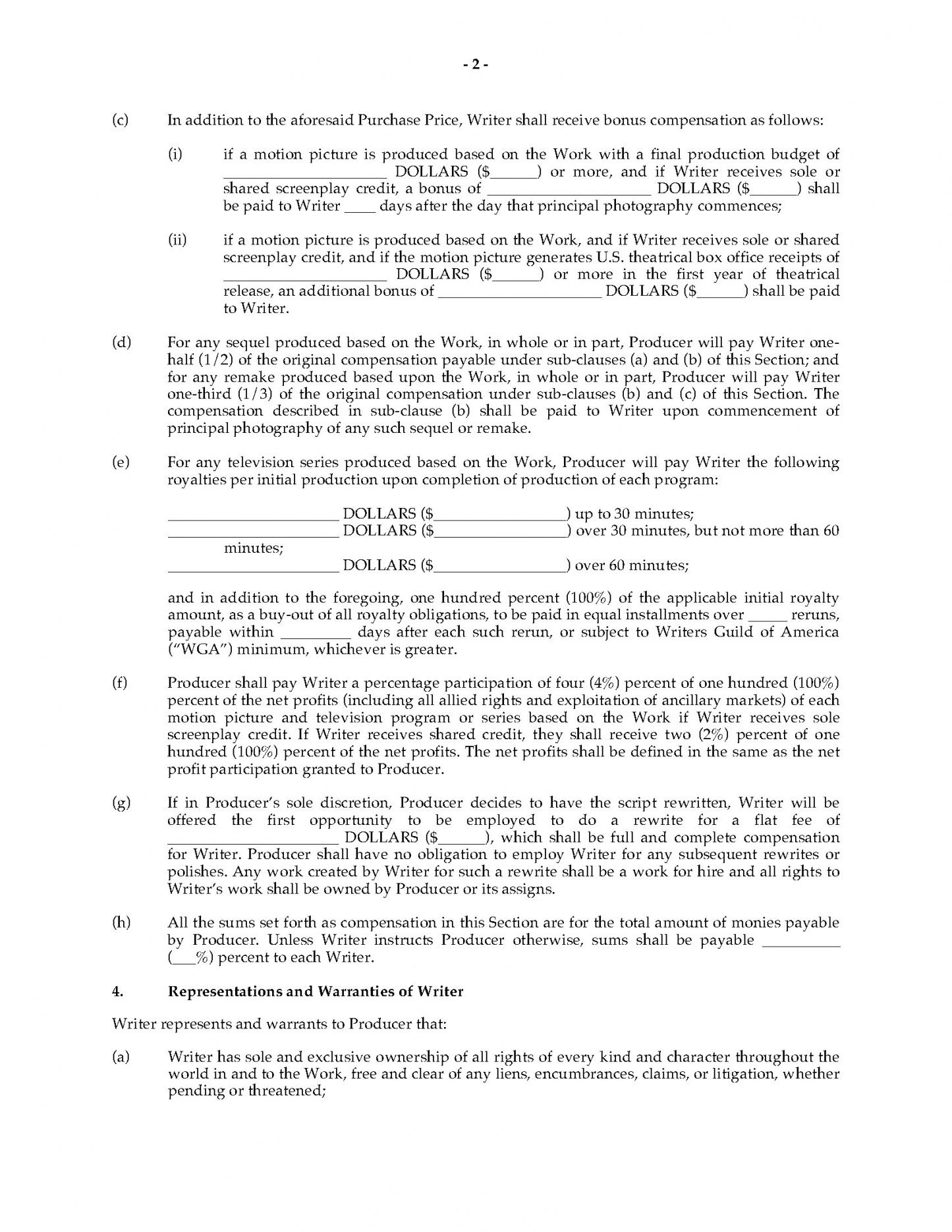 printable option agreement for rights to original screenplay film option agreement template doc