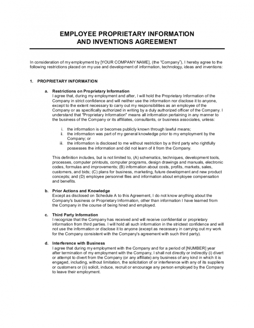printable proprietary information and inventions agreement template employee technology use agreement template excel
