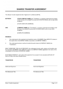 printable shares transfer agreement short template  by businessinabox™ stock transfer agreement template doc