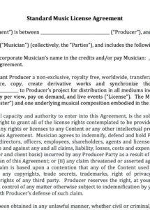 printable standard music license agreement  nimia content license agreement template word