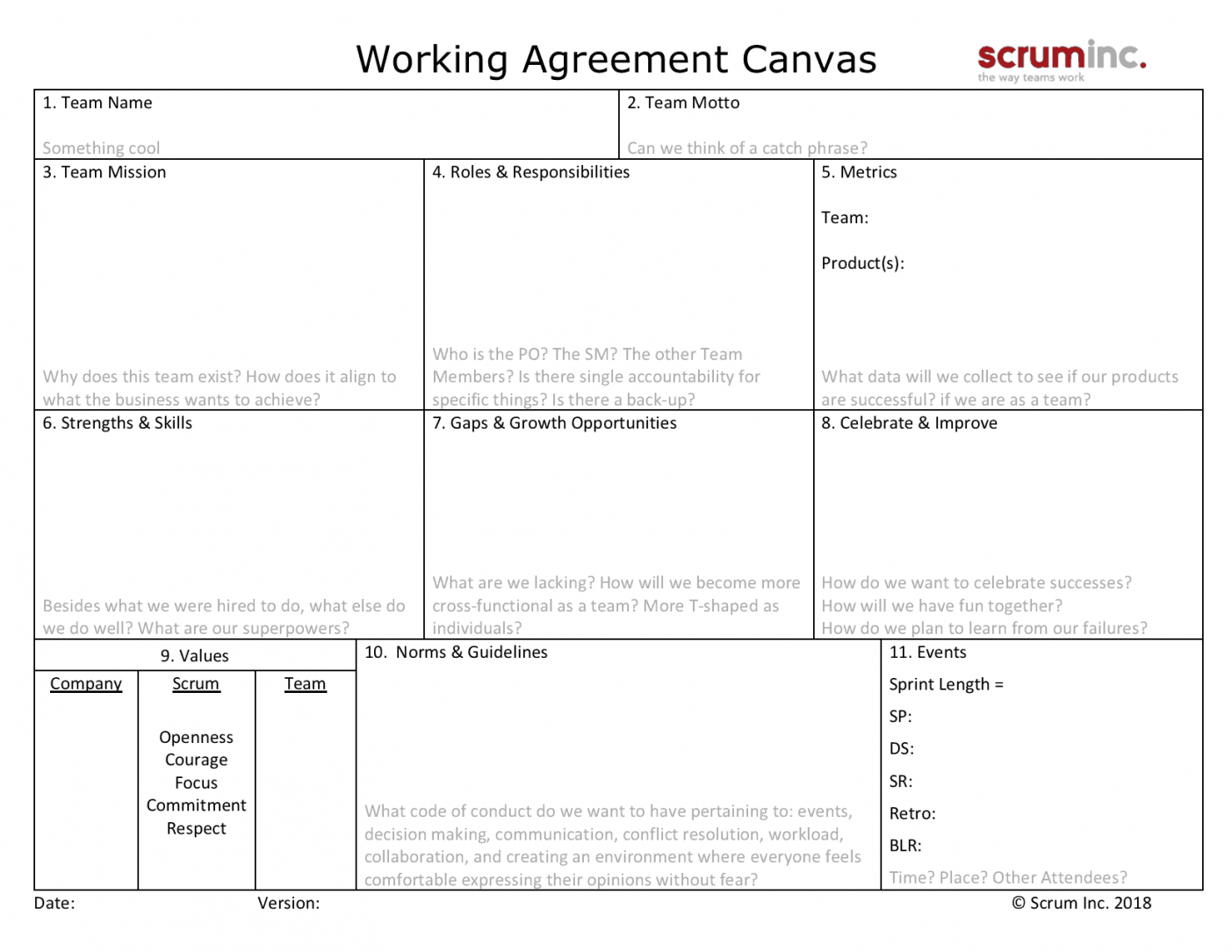printable team working agreement canvas  scrum inc scrum working agreement template pdf