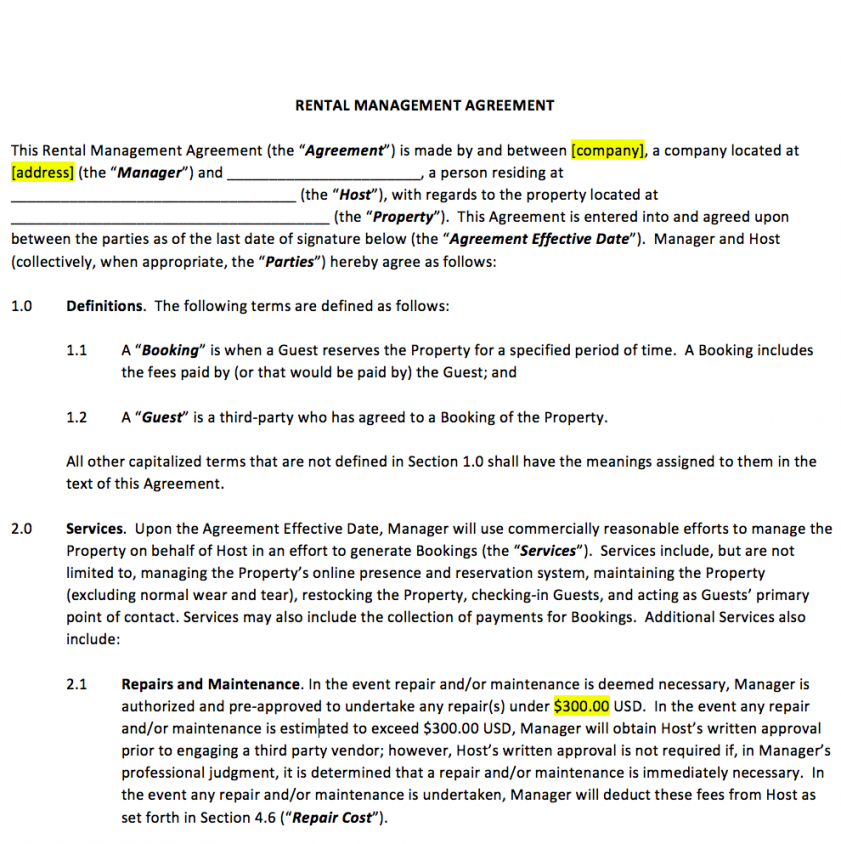 printable vacation rental property management contract template host agreement template doc