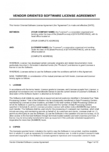 printable vendororiented software license agreement template  by software subscription license agreement template pdf