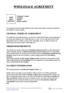 printable wholesale contract template  create your own for free drop ship agreement template