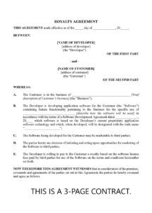 royalty agreement for software licensing  canada royalty financing agreement template