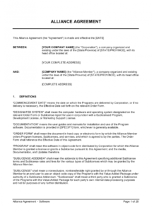 sample alliance agreement software template  by businessinabox™ data license agreement template doc