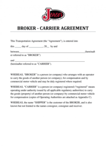 sample carrier agreement  fill out and sign printable pdf template  signnow freight broker agent agreement template word