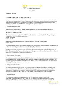 sample download a influencer contract in pdf format  bonsai social media influencer agreement template sample