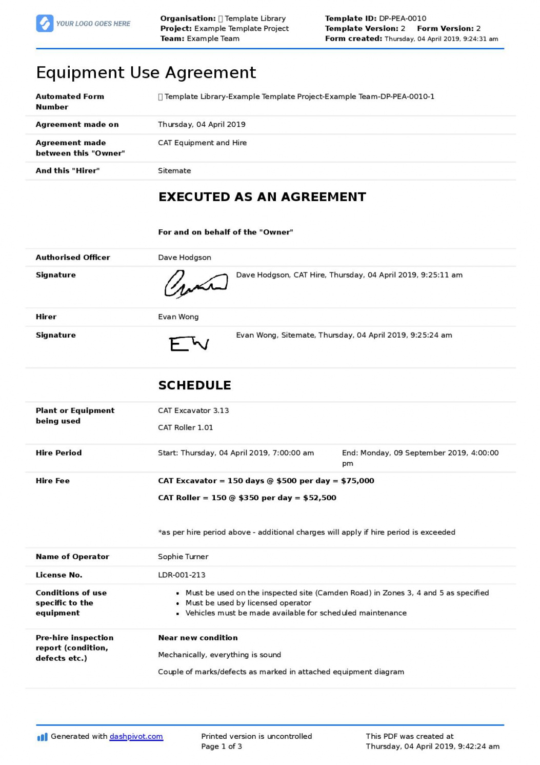 sample equipment use agreement template for companies and employees equipment use agreement template doc