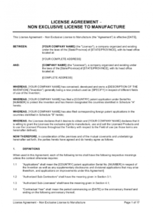 sample license agreement nonexclusive license to manufacture manufacturing license agreement template doc