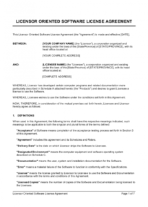 sample licensor oriented software license agreement template  by software subscription license agreement template doc
