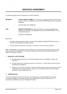 sample services agreement with royalties or commission template service provider agreement template pdf