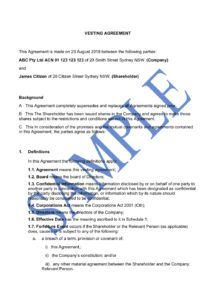 sample share vesting agreement  free template  sample  lawpath founder vesting agreement template doc