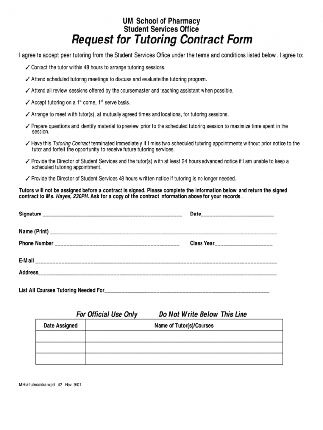 sample tutoring contract  fill online printable fillable blank tutoring agreement template sample