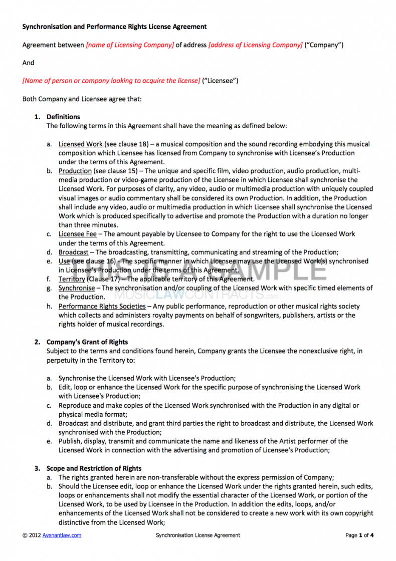 synchronisation license contract music license agreement template pdf