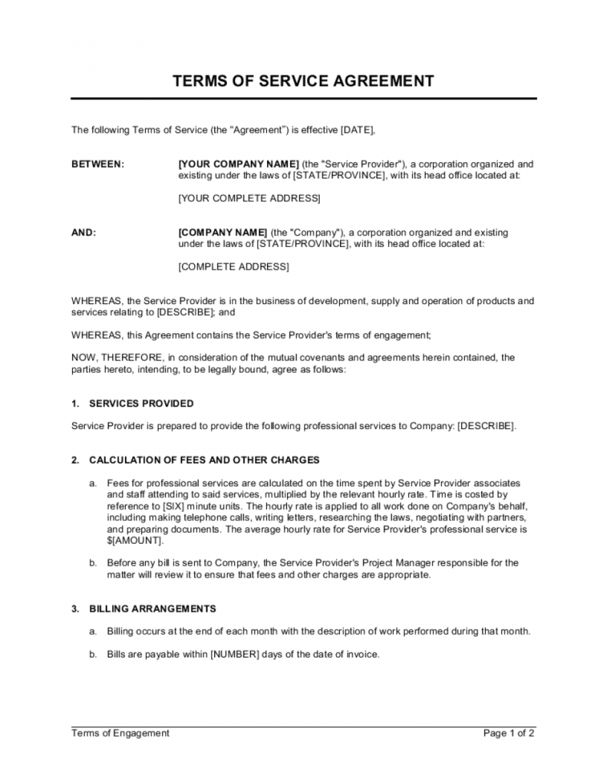 terms of service agreement template  by businessinabox™ service provider agreement template example