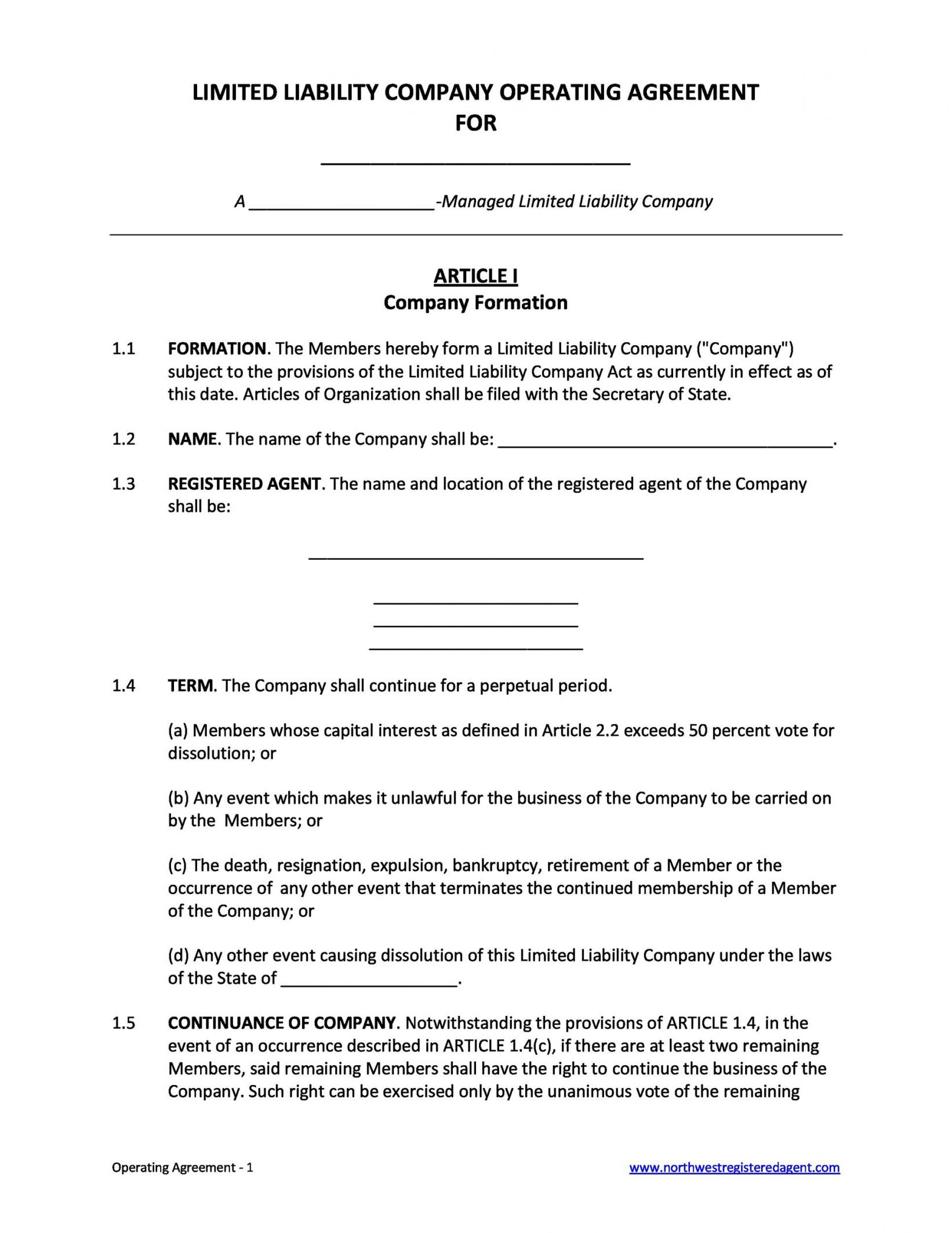 30 professional llc operating agreement templates  templatelab silent partnership agreement template