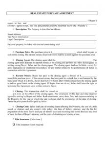37 simple purchase agreement templates real estate business contract to buy a house template pdf