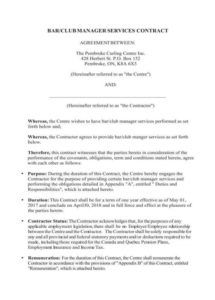 5 bartending services contract templates  pdf  free bar manager contract template excel