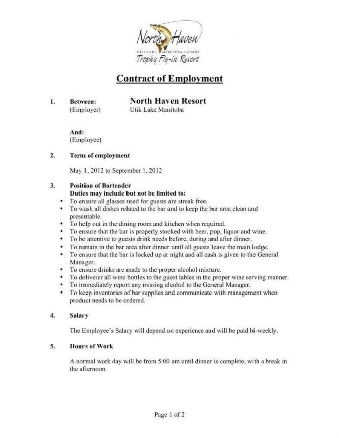 5 bartending services contract templates  pdf  free bar manager contract template sample