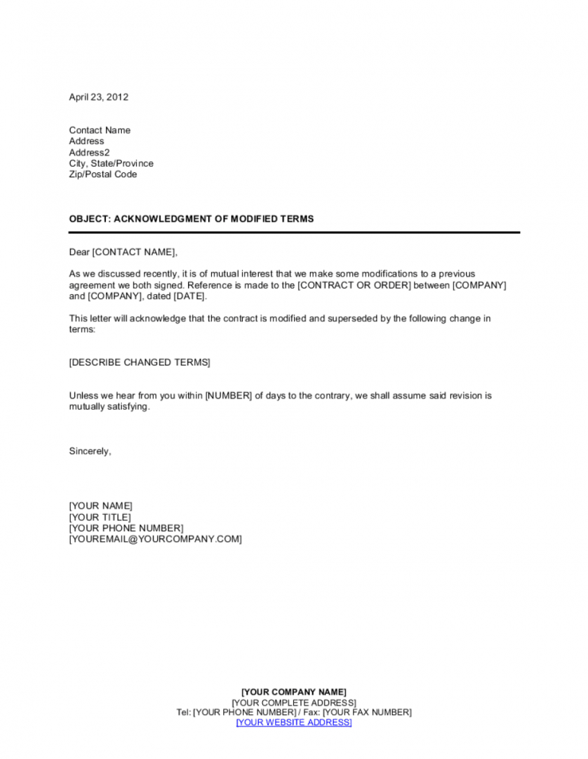 acknowledgment of modified terms template  by businessina change of name agreement template example