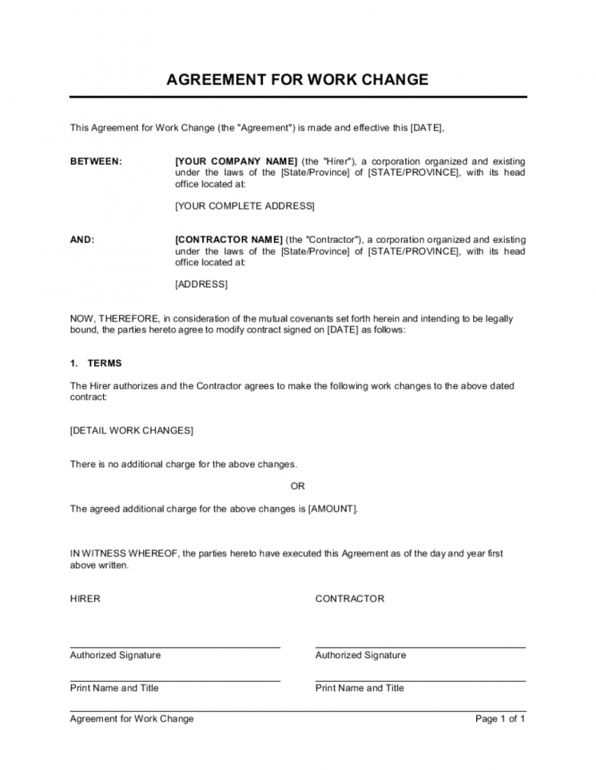 Change Of Name Agreement Template