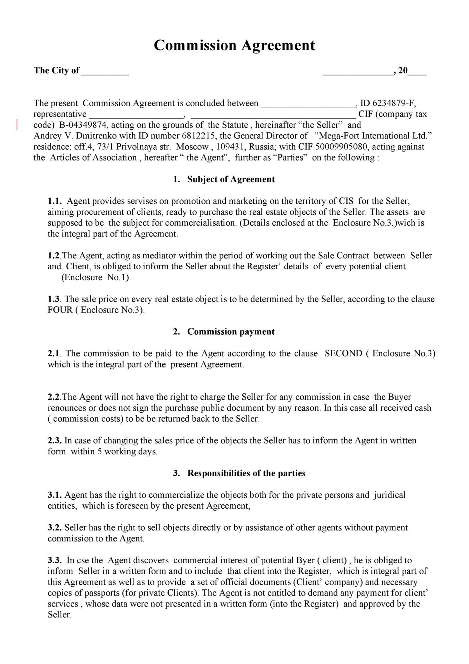 editable 36 free commission agreements sales real estate contractor sales compensation agreement template sample