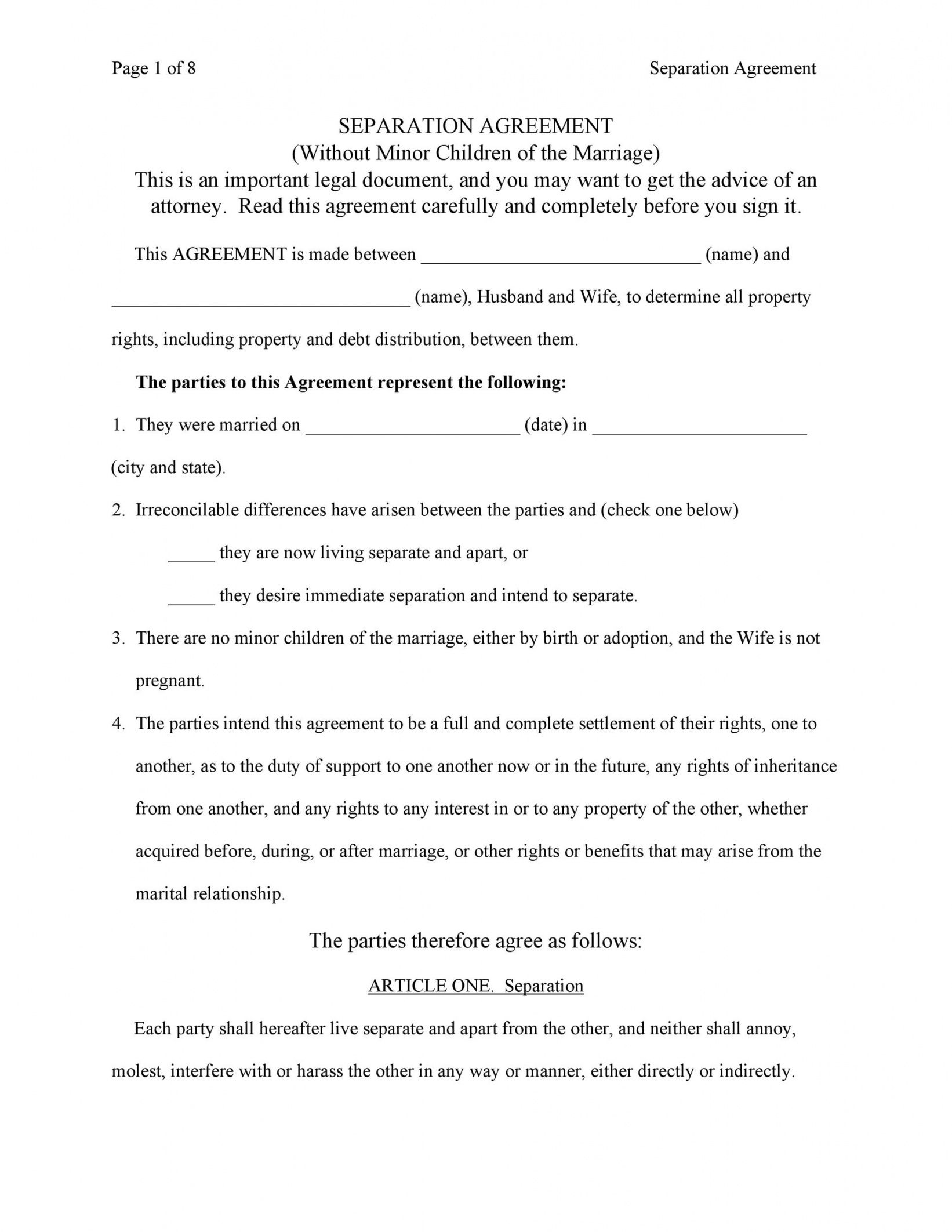 editable 43 official separation agreement templates  letters  forms division of assets agreement template excel