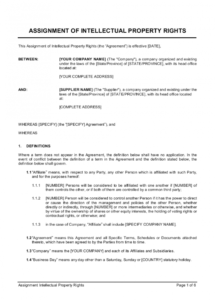 editable assignment of intellectual property rights template  by intellectual property protection agreement template pdf