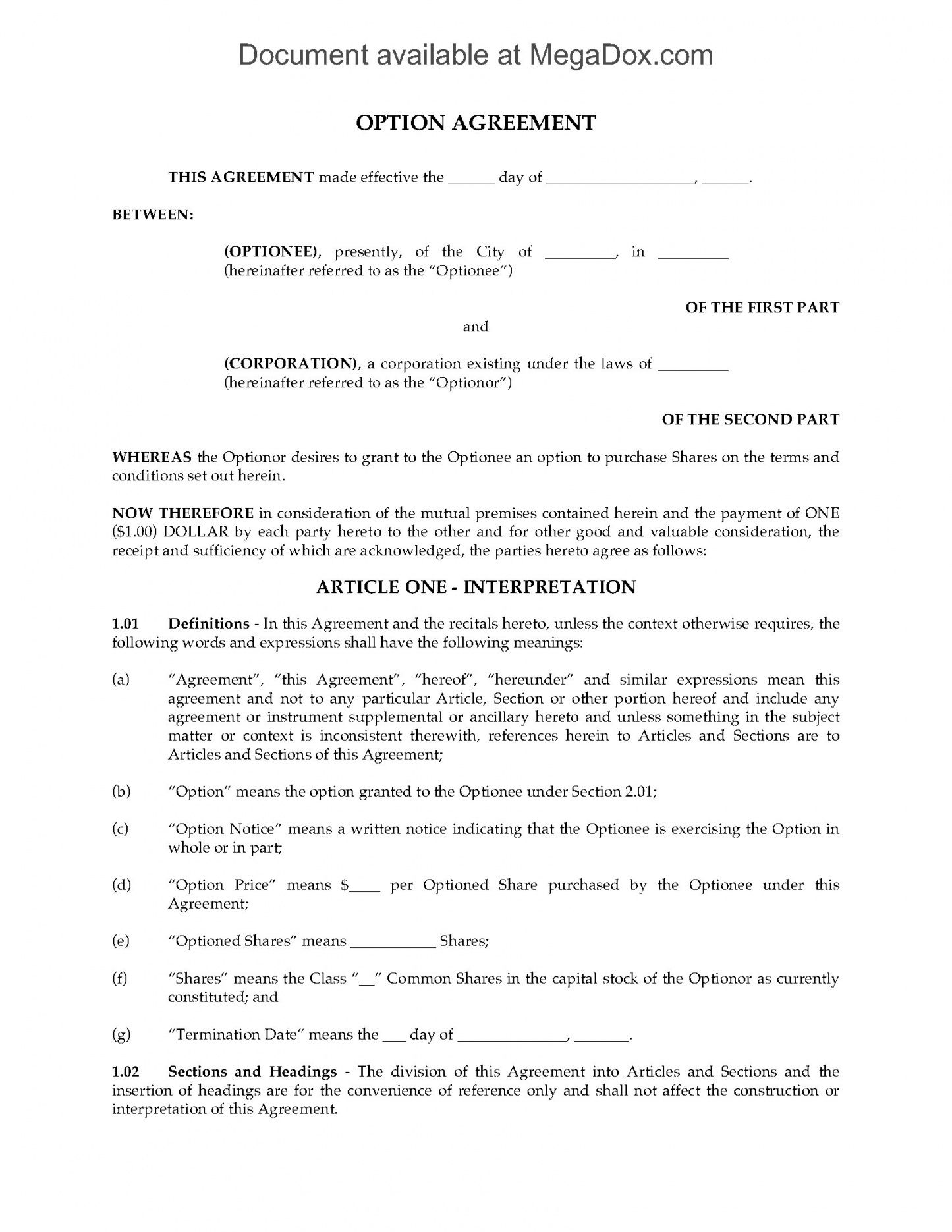 editable canada stock option agreement nonplan employee stock option agreement template example