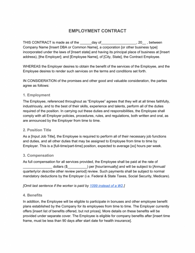 editable employment contract—definition & what to include non profit employment agreement template