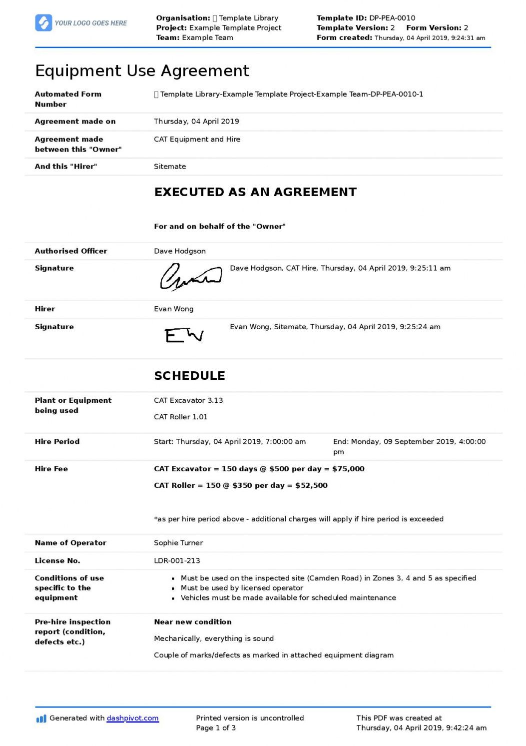 editable equipment use agreement template for companies and employees equipment user agreement template doc