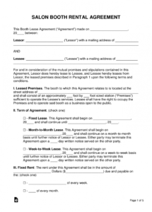 editable free booth salon rental lease agreement  pdf  word beauty salon contract of employment template doc