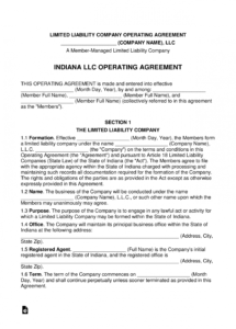 editable indiana multimember llc operating agreement form  eforms limited liability company agreement template word