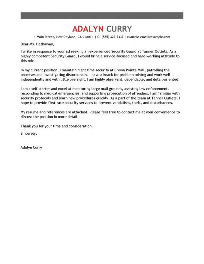 editable leading professional security guard cover letter examples cover letter template for security job