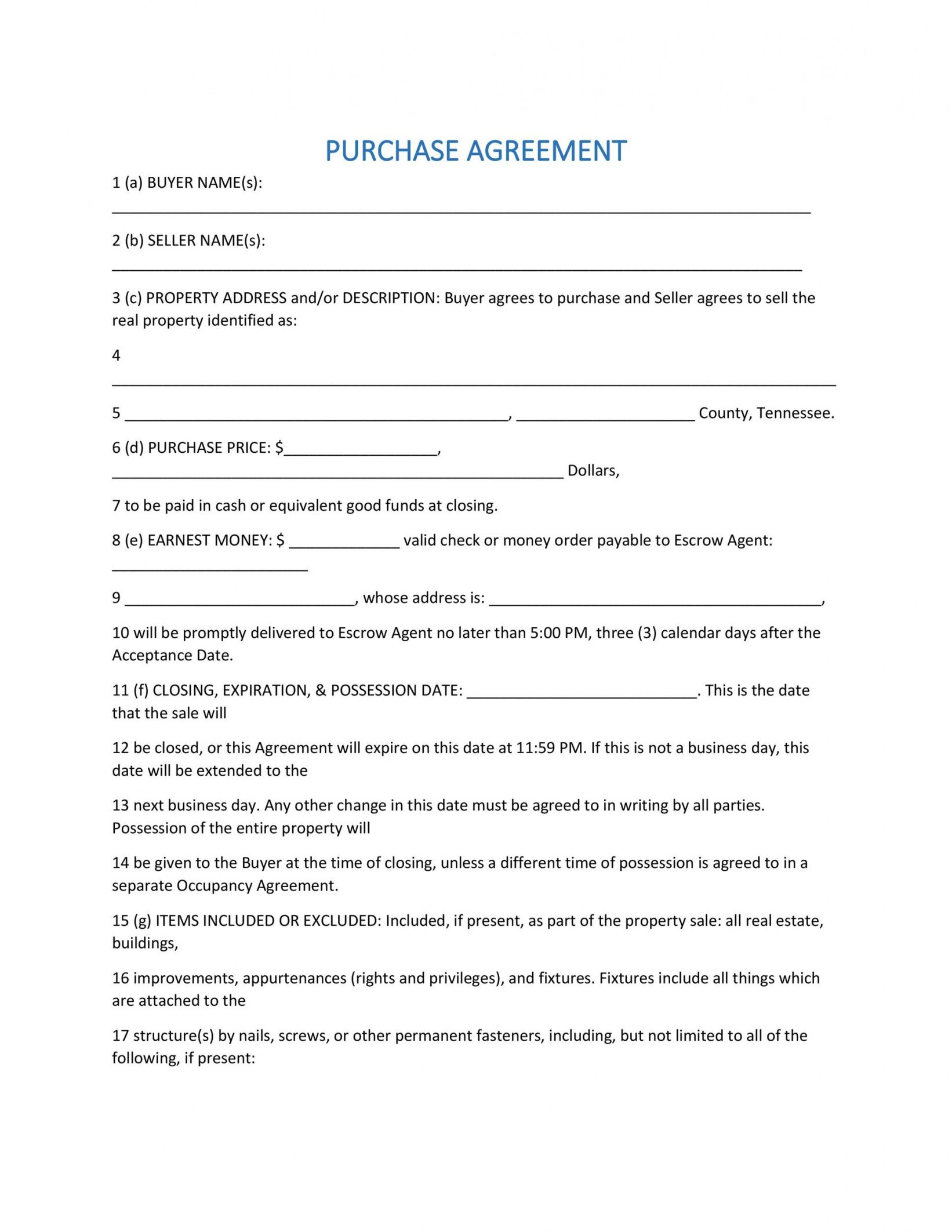 free 37 simple purchase agreement templates real estate business contract to buy a house template example