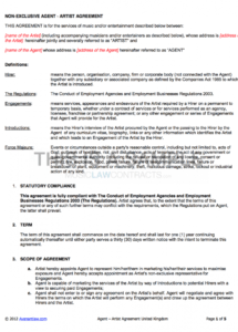 free agency  artist contract uk use only artist agent agreement template doc