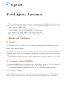 free agreements  travel agency agreement template template travel services agreement template doc