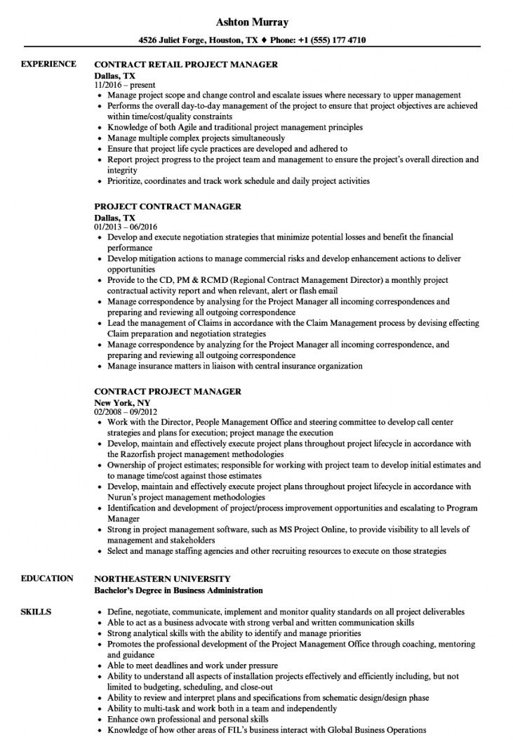 free contract project manager resume samples  velvet jobs project manager agreement template example