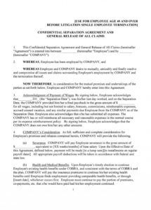 free employment separation agreement template ~ addictionary voluntary employment separation agreement template doc