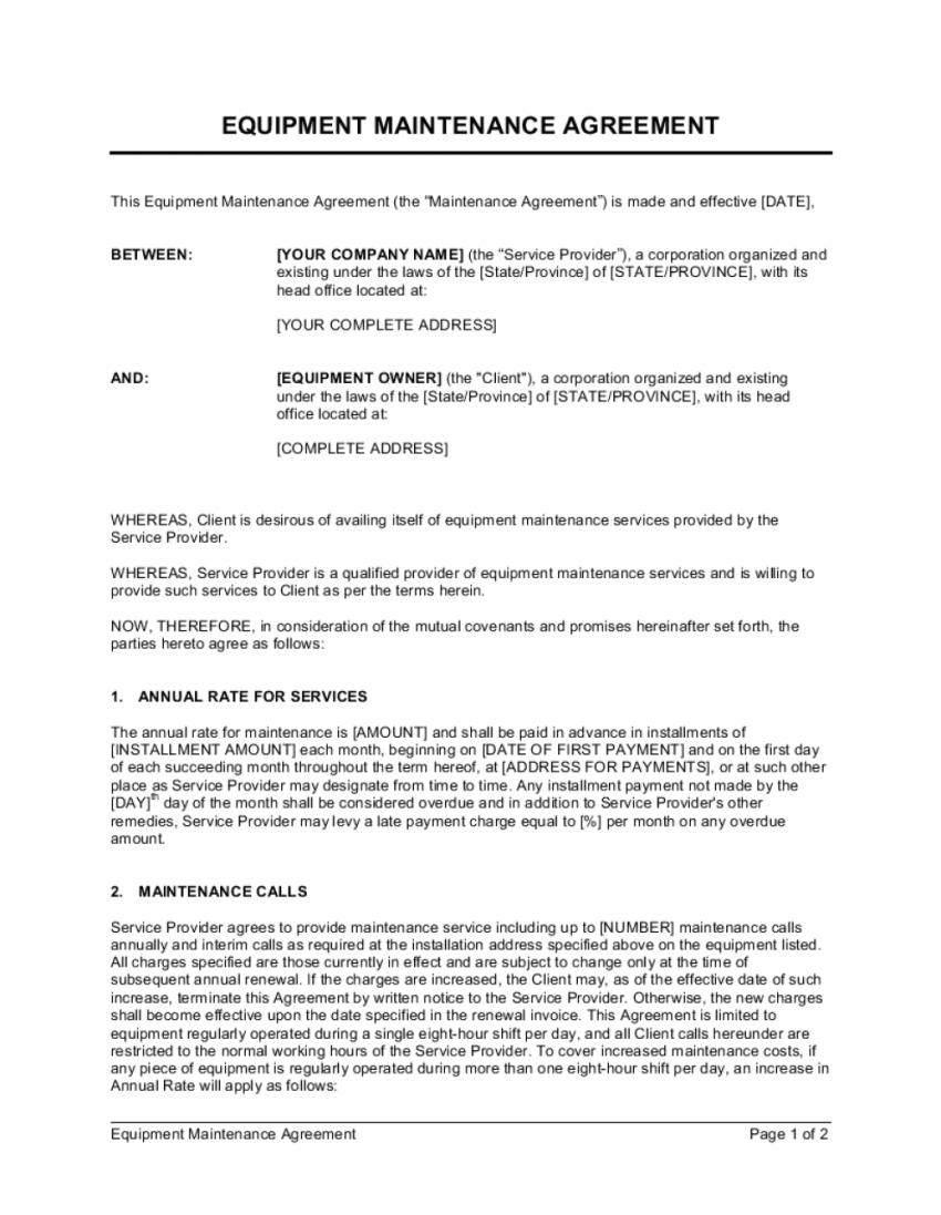 free equipment maintenance agreement template  by businessinabox™ maintenance service contract template pdf