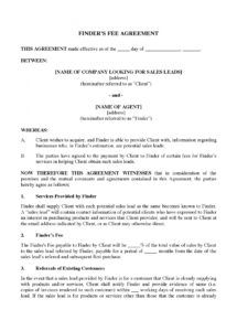 free finder's fee agreement for sales leads finders agreement template example